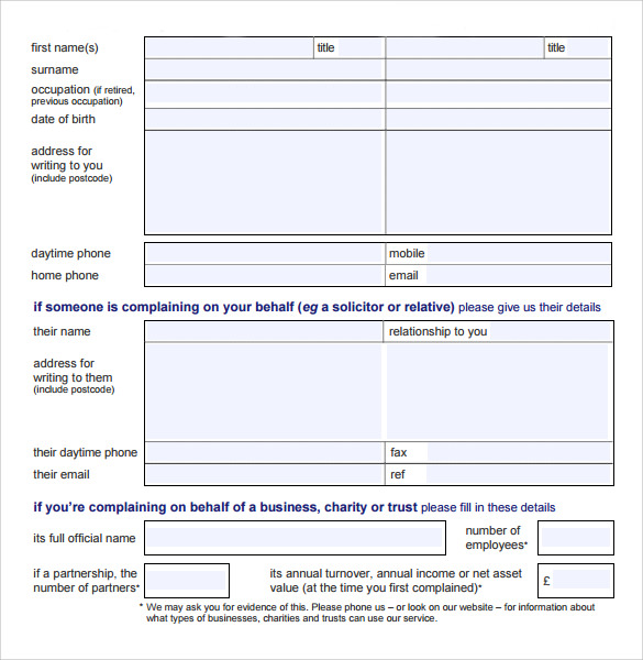 Sample Complaint Form   Free Documents In Pdf Word