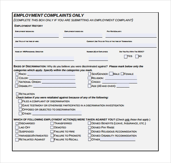 Sample Eeoc Complaint Forms - 7+ Download Free Documents In Pdf , Word