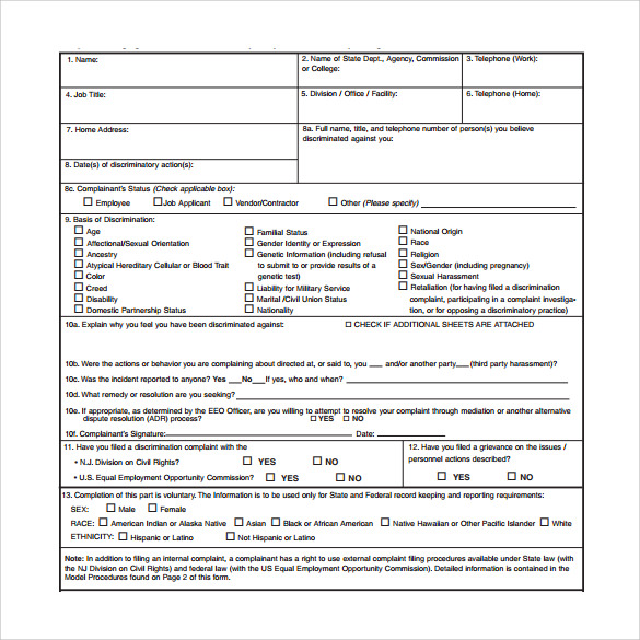 Sample Eeoc Complaint Forms   Download Free Documents In Pdf  Word