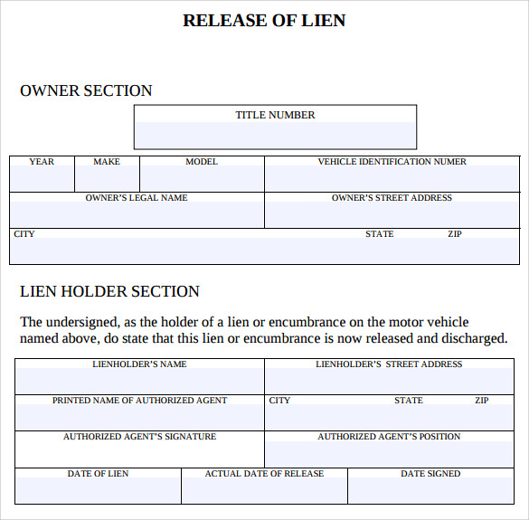 Sample Lien Release Form   Download Free Documents In Pdf
