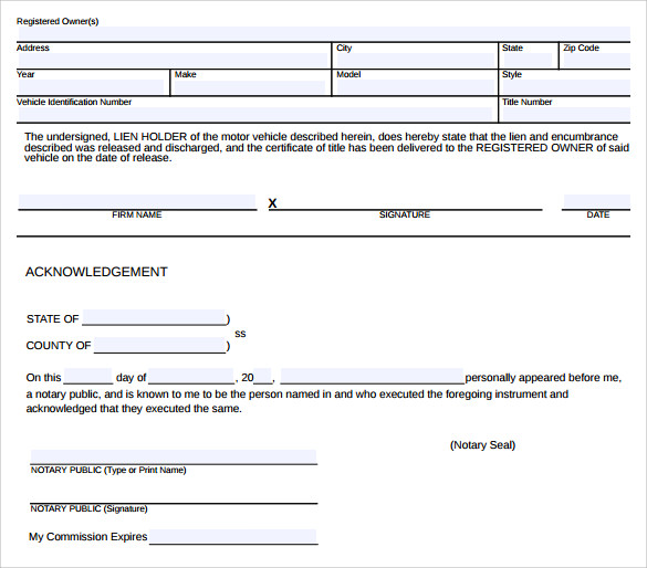 11 Lien Release Sample Forms Word Pdf: 8+ Download Free Documents In PDF