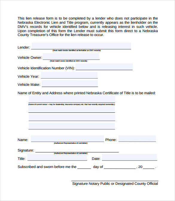 Sample Lien Release Form