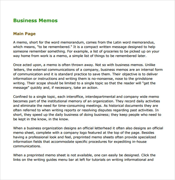 sample business memo 5 documents in pdf word