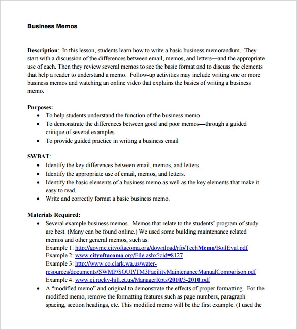 Sample Business Memo   Documents In  Word