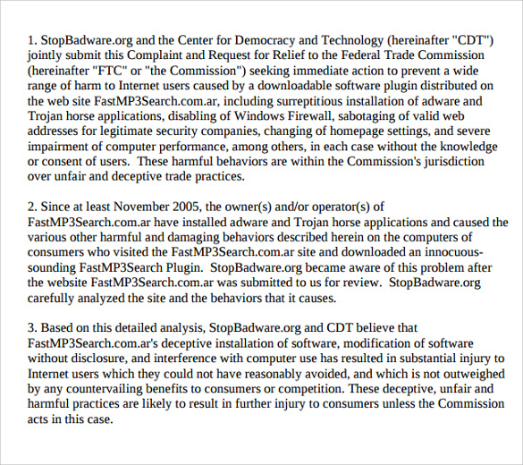 Sample Ftc Complaint Forms   Download Documents In Pdf