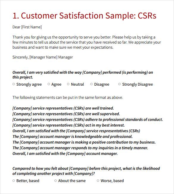 9 sample client satisfaction survey templates sample templates. Black Bedroom Furniture Sets. Home Design Ideas