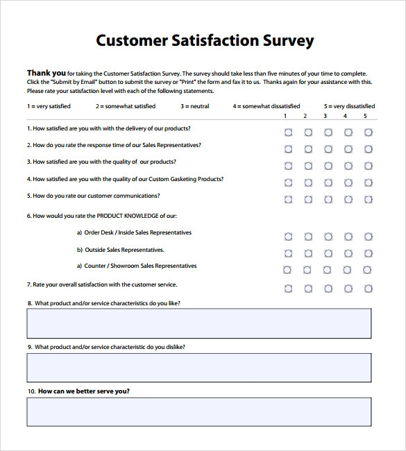 Client Satisfaction Survey Templates  Free Sample Example Format