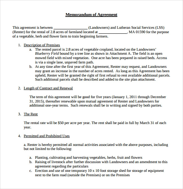 10 Memorandum Of Lease Agreement Samples Examples Format