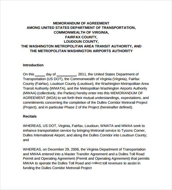 Memorandum Of Agreement MOA AcqNotes