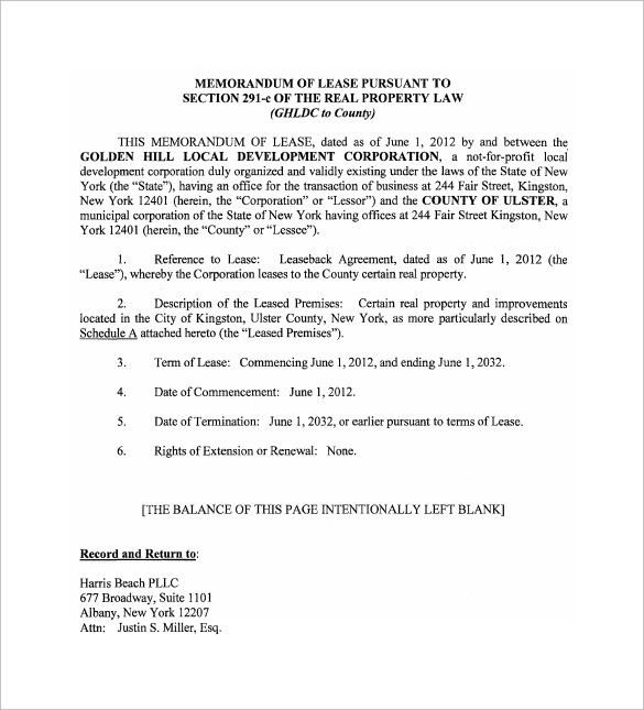 Sample Memorandum of Lease Agreement 9 Free Documents in PDF Word – Sample Memorandum of Agreement