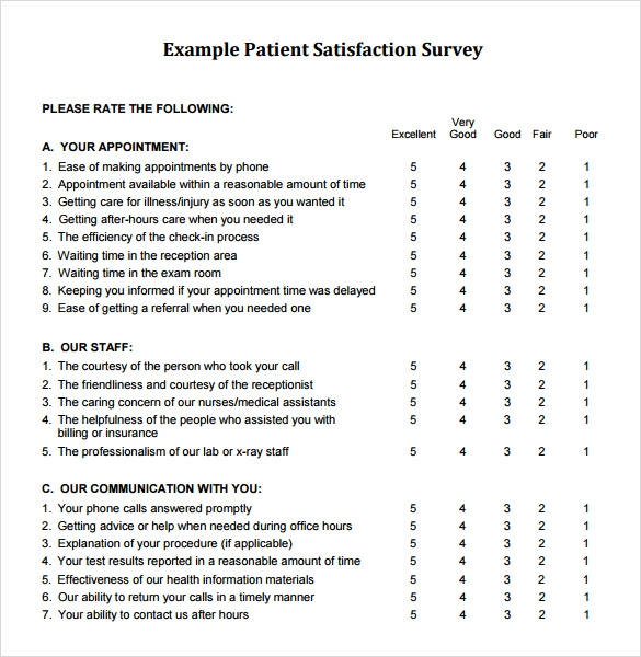 Satisfaction Survey Patient Satisfaction Survey Client Satisfaction