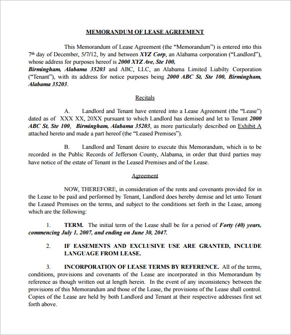 Sample Memorandum of Lease Agreement 9 Free Documents in PDF Word – Sample of a Lease Agreement