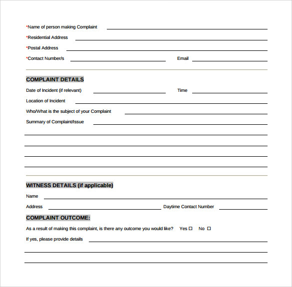 sample customer complaint form