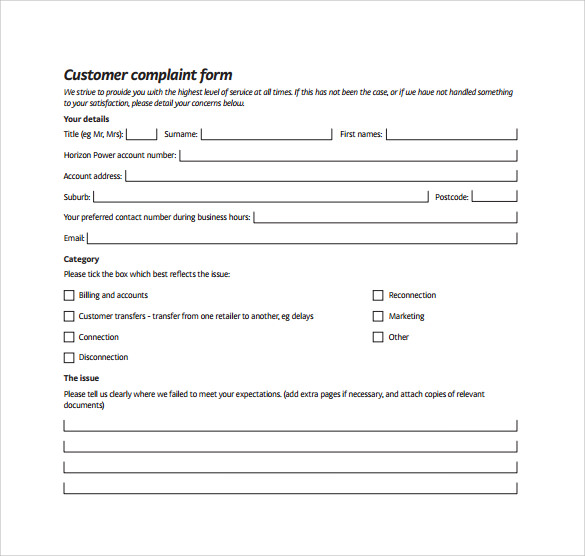 Superieur Complaint Form Template. Sample Customer ...
