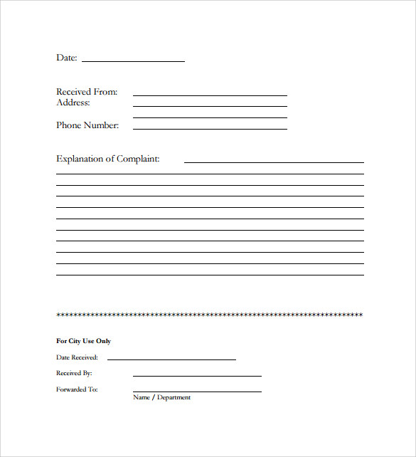 Sample Customer Complaint Form Examples