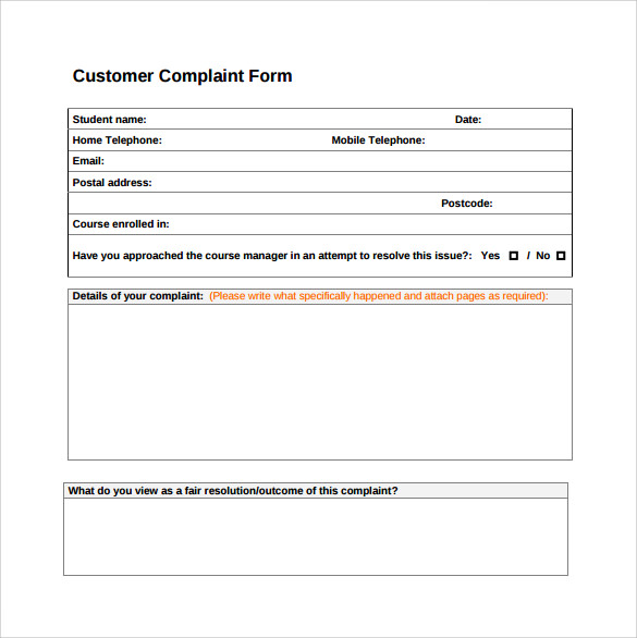 customer complaint form download