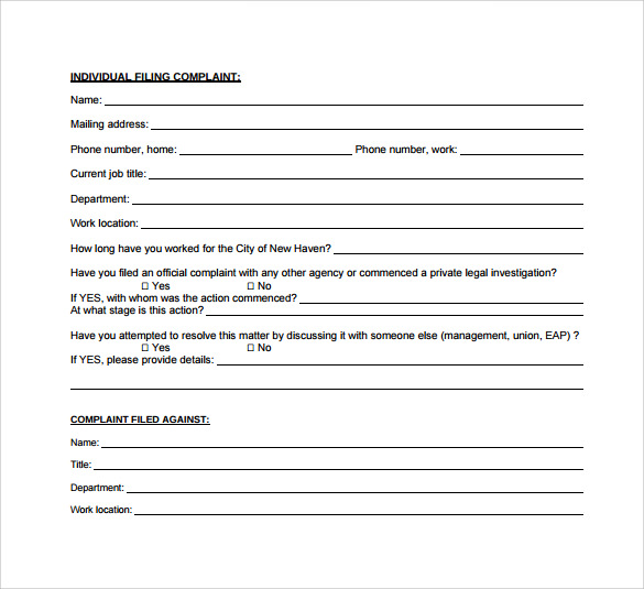 Sample Employee Complaint Forms   Download Free Documents In