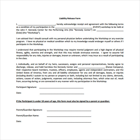 Sample Liability Release Form Examples 9 Download Free – Free Liability Release Form