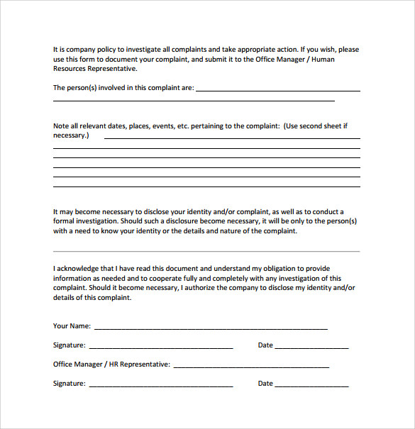 Sample Employee Complaint Forms   Download Free Documents In Pdf