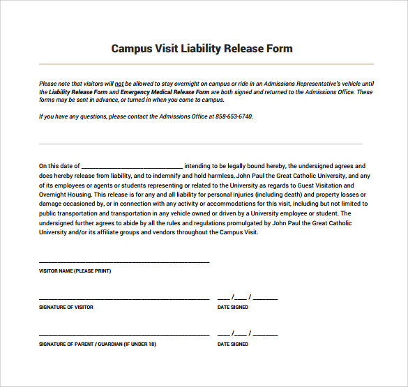 Doc400518 Waiver and Release Form Template Release of – Example of Liability Waiver