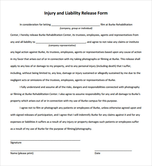 Sample Liability Release Form Examples 9 Download Free – Free Liability Release Form Template