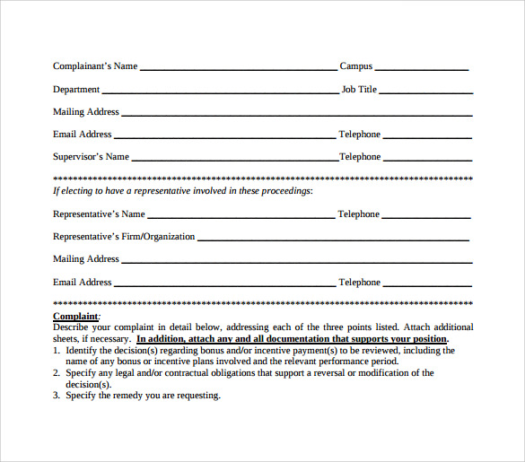 complaint form of employee