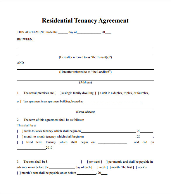 Tenant Lease Agreement   Download Free Documents In Pdf