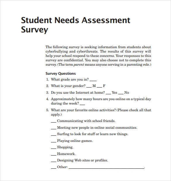 Sample Needs Assessment Survey Template Free Documents In Pdf