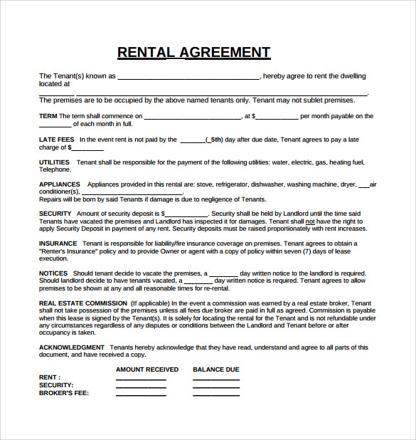 Tenant Lease Agreement 8 Download Free Documents in PDF – Download Lease