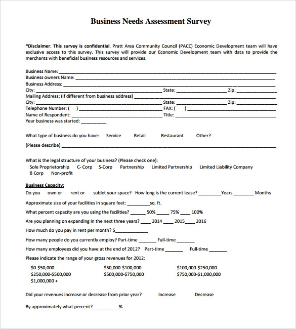 Sample Needs Assessment Survey Template 8 Free Documents in PDF – Sample Needs Assessment
