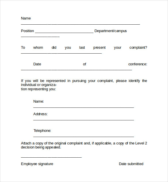 sample employee complaint form