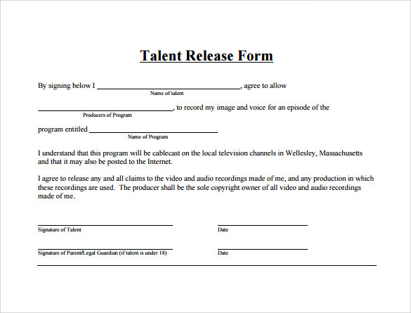 Sample Talent Release Forms - 9+ Download Free Documents in PDF , Word