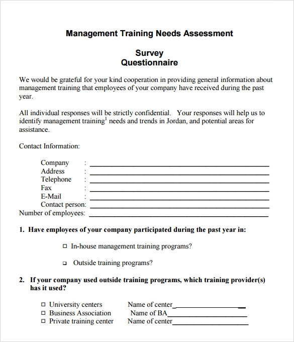 Training Needs Assessment Template Training Needs Analysis Form