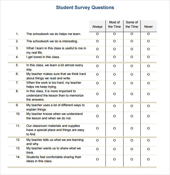 7 student survey samples sample templates for Student satisfaction questionnaire template