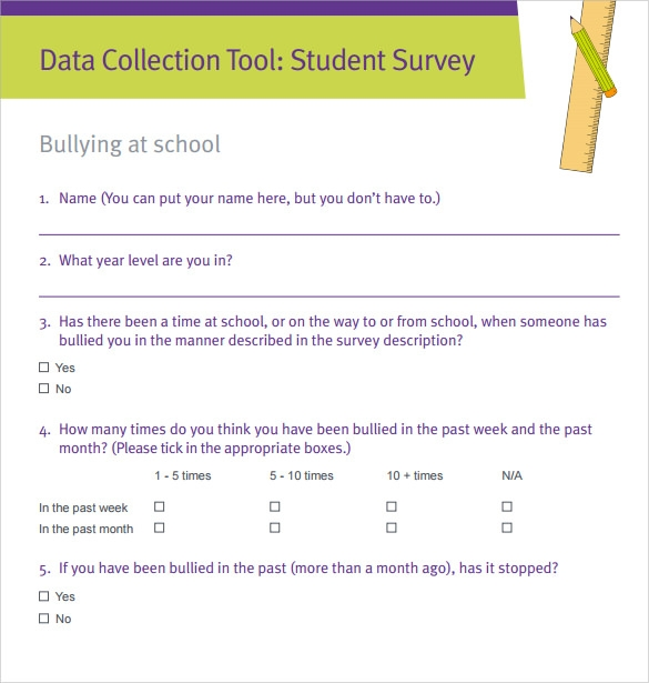 Sample Student Survey   Example Format