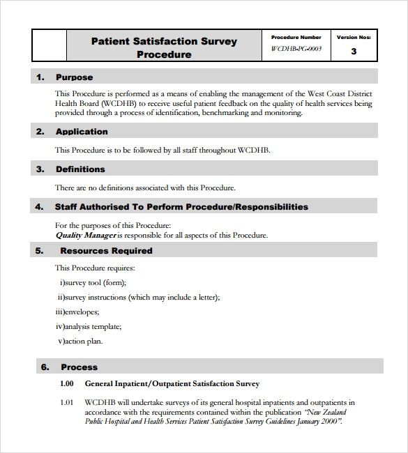 Sample Patient Satisfaction Survey   Documents In Pdf Word