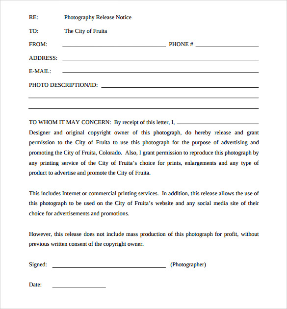 Sample Print Release Forms   Free Documents In Pdf