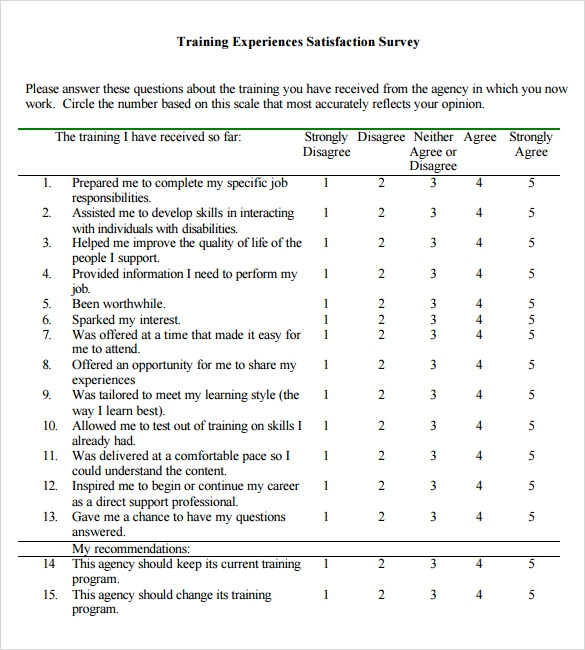 Sample Training Survey 7 Example Format – Survey Sample