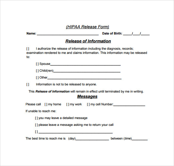 Sample Hipaa Release Form - 7+ Download Free Documents In PDF, Word