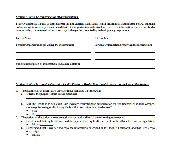Hipaa Compliant Authorization Form Hipaa Authorization Template