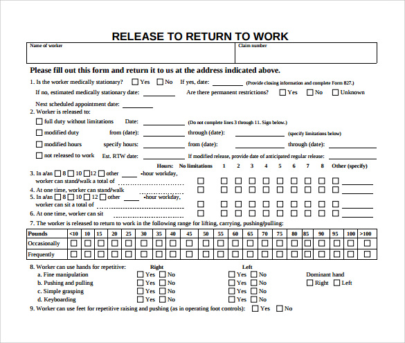 Work Release Forms Release Form From Doctor To Return To Work