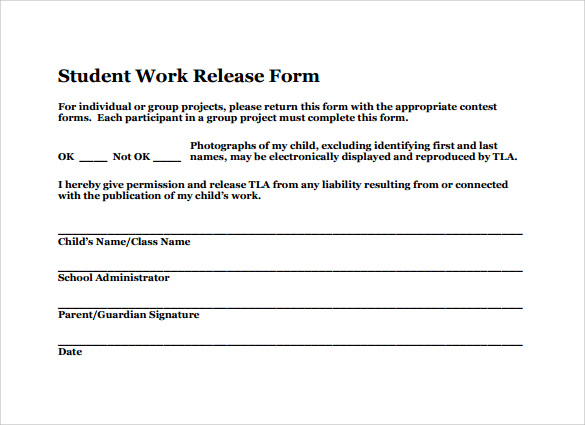 Sample Work Release Forms 9 Download Free Documents in PDF Word – Work Release Form