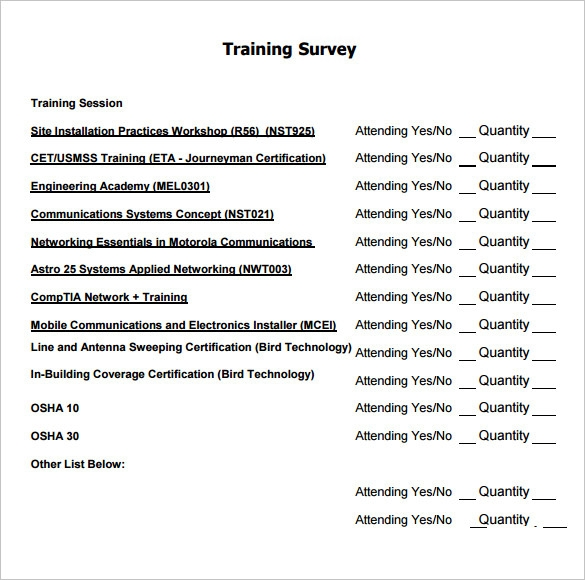 Sample Training Survey 7 Example Format – Sample Training Survey
