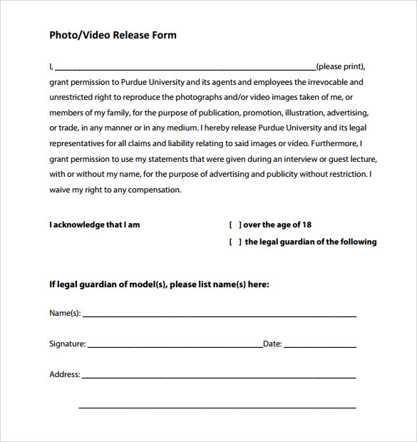 Sample Video Release Form   Free Documents In Pdf Word