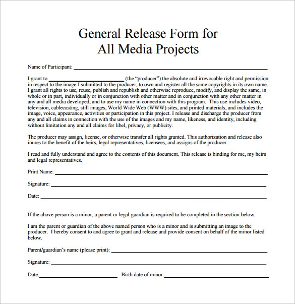Sample General Release Form. General Photography Release Form ...