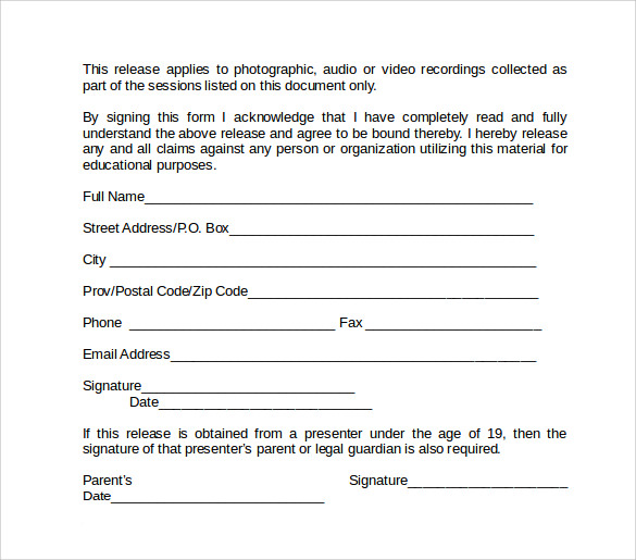 word video release form