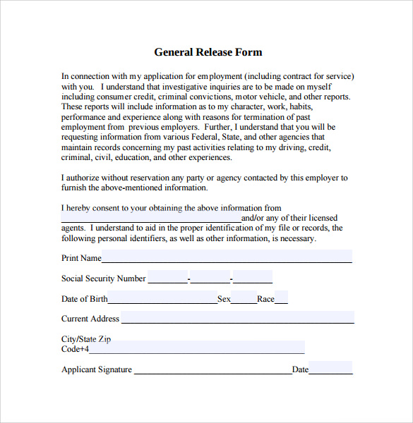 General Release Form Sample General Release Forms Free Documents In