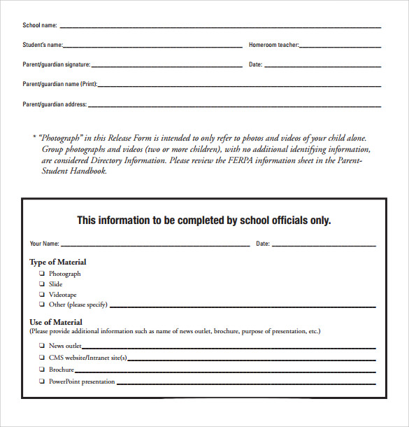 video release form for minors