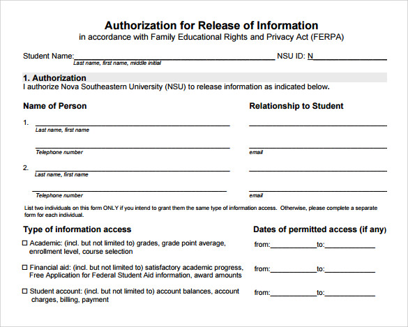 Authorization Of Release Of Information Form