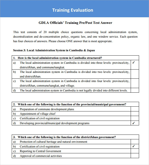 Training survey templates 7 samples examples format for Post training evaluation template